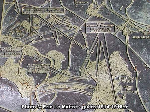 Carte de l'attaque du bois Belleau le 6 juin 1918
