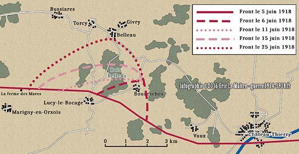 Evolution du front lors de la bataille du bois Belleau du 5 au 25 juin 1918