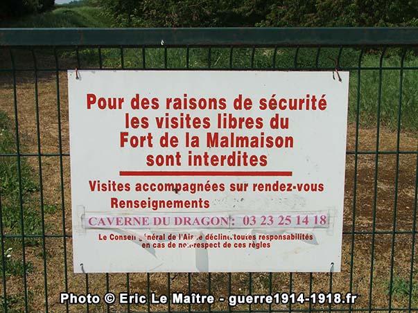 Les visites libres du fort de la Malmaison sont interdites