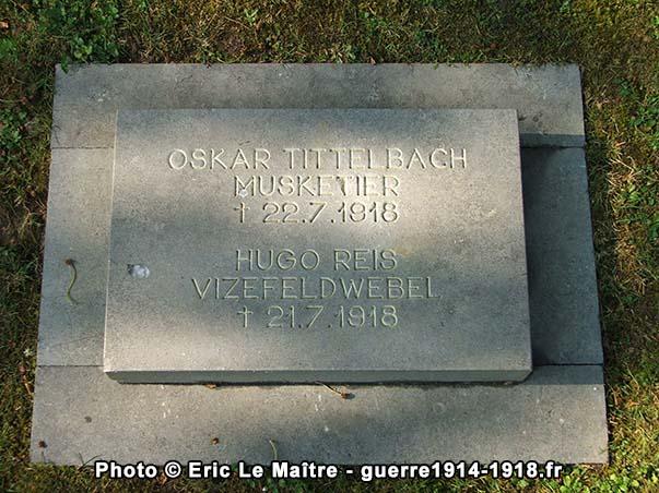 Sépulture commune de deux soldats allemands tombés en juillet 1918