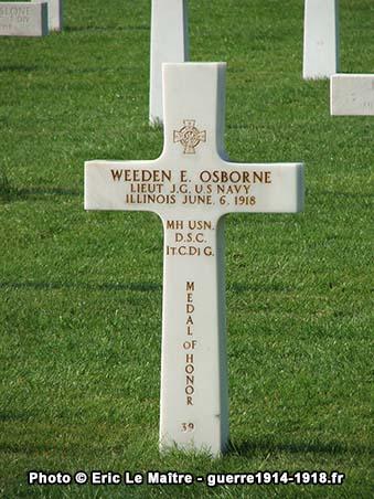 Sépulture à Belleau du lieutenant Weeden E. Osborne, tué le 6 juin 1918, il reçut la médaille d 'honneur à titre posthume.