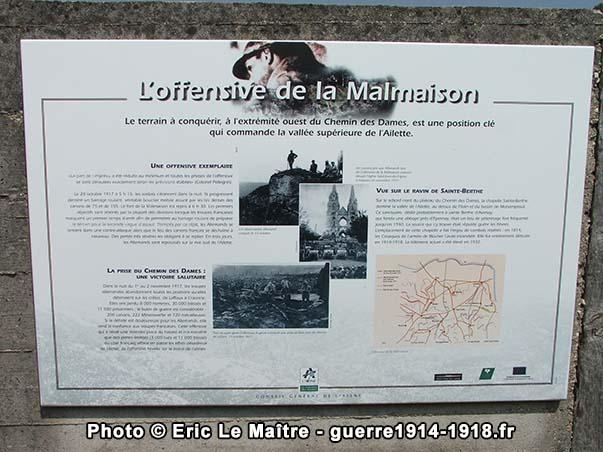 L'offensive de la Malmaison - Panneau touristique de la Royère à Filain
