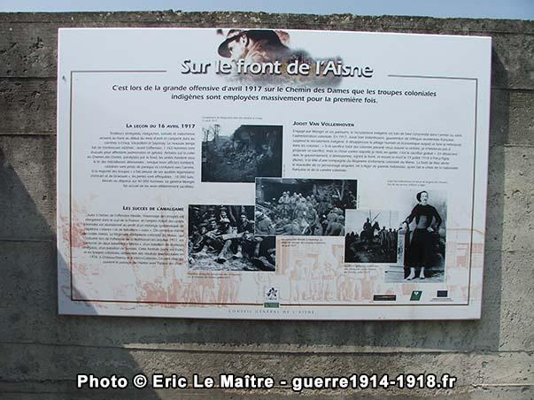 Sur le front de l'Aisne - Panneau touristique de la Royère à Filain