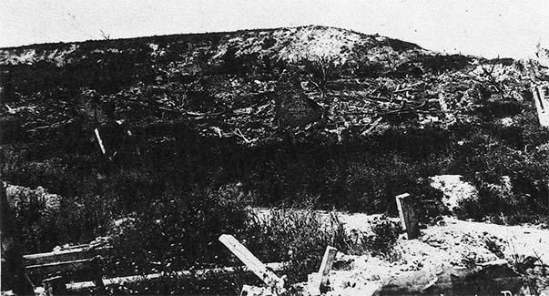 Les restes du village de Pargny-Filain après la guerre
