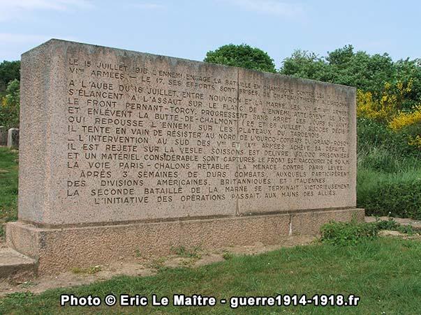 Première stèle du monument de la butte de Chalmont