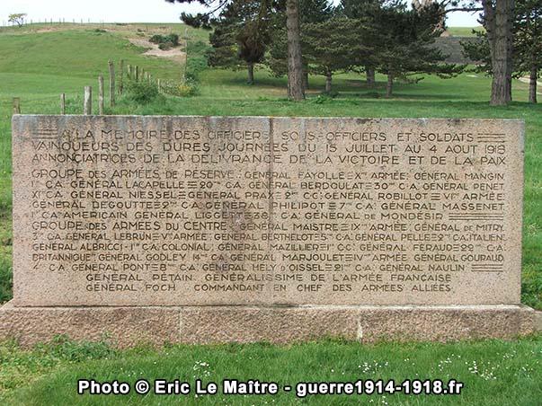 Seconde stèle du monument de la butte de Chalmont
