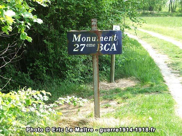Panneau indiquant le monument de la 27ème BCA à Braye-en-Laonnois