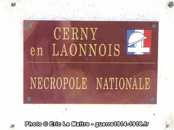 Plaque de la nécropole nationale de Cerny-en-Laonnois