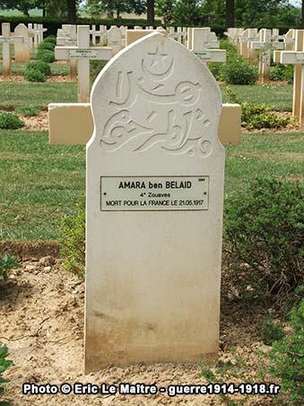 Sépulture de Amara ben Belaid au cimetière militaire de Cerny-en-Laonnois