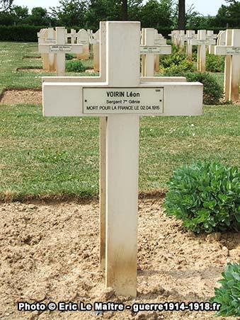Sépulture de Léon Voirin au cimetière militaire de Cerny-en-Laonnois