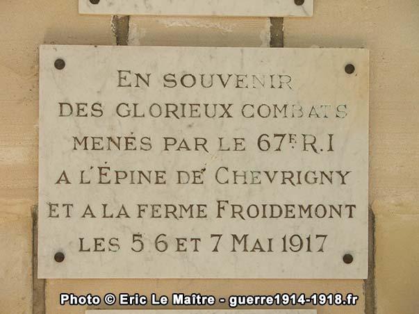 Plaque en souvenir des combats menés par le 67e d'infanterie en mai 1917