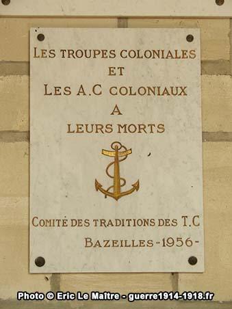 Plaque en mémoire des troupes coloniales et des A.C coloniaux