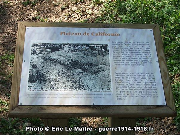 Détails du plateau de Californie après la guerre
