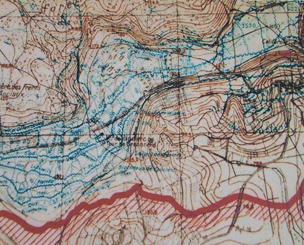 Le réseau des tranchées sur le Plateau de Californie en octobre 1917
