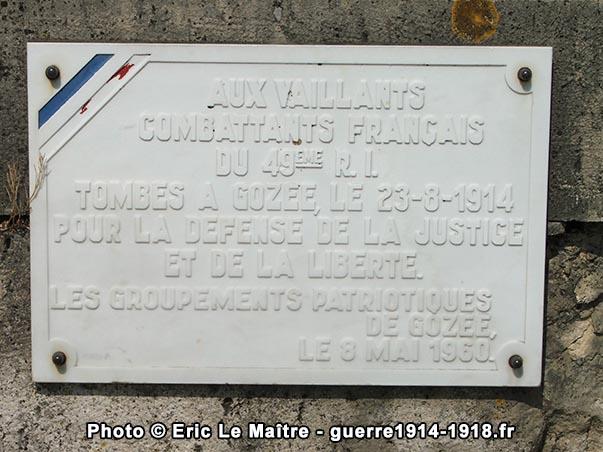 Plaque commémorative en mémoire des combattants du 49ème RI