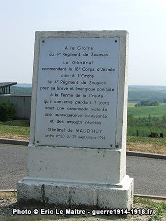 Monument à la gloire du 4ème régiment de Zouaves à la caverne du Dragon à Oulches-la-Vallée-Foulon