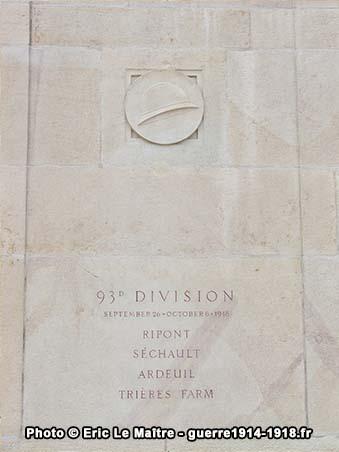 93ème division américaine, monument américain de Sommepy