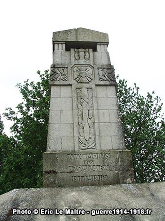 Le haut du monument aux morts des 170ème et 174ème R.I. à Sommepy-Tahure
