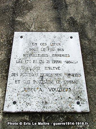 Plaque en souvenir des combats menés en ces lieux par les 170ème et 174ème R.I. d'Epinal
