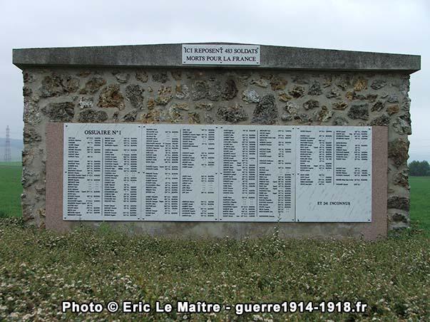 Ossuaire n°1 de la nécropole nationale de Sillery