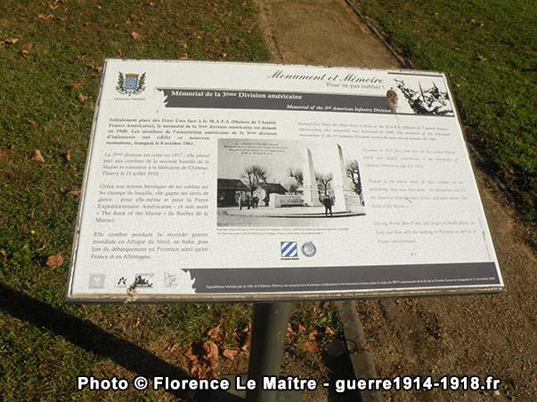 Pupitre du mémorial de la 3ème Division américaine à Château-Thierry
