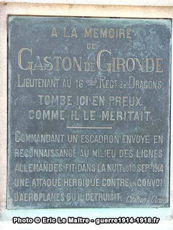 Plaque commémorative à la mémoire de Gaston de Gironde