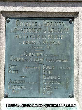 Plaque commémorative à la mémoire de officiers et cavaliers du 16ème Dragons