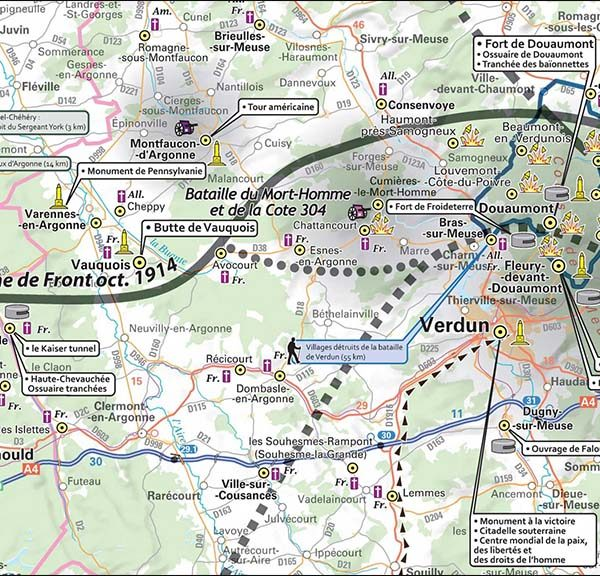Carte IGN - Grande Guerre 1914 - 1918 - Fragment de la carte dépliante