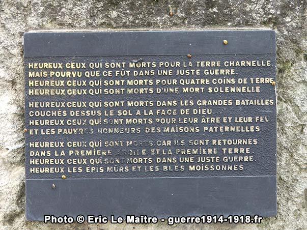 Plaque apposée sur la table d'orientation du monument Charles Péguy à Villeroy