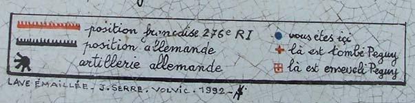 Légende de la table d'orientation du monument Charles Péguy à Villeroy