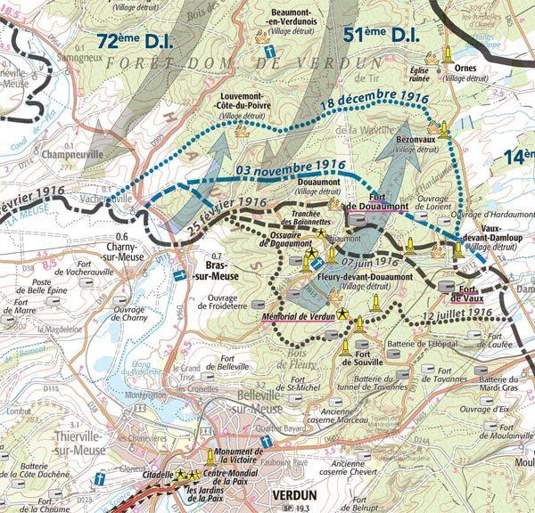 Extrait carte IGN Grande Guerre bataille de Verdun 1916