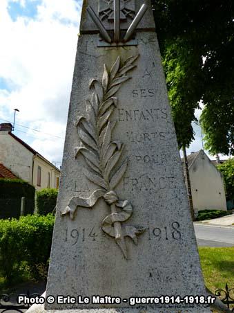 La partie haute du monuments aux morts d'Iverny, côté rue de Meaux (D27)