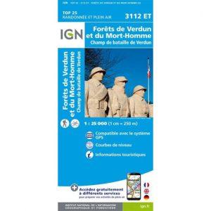 Forêts de Verdun et du Mort-Homme - Champ de bataille de Verdun - Carte de randonnée IGN