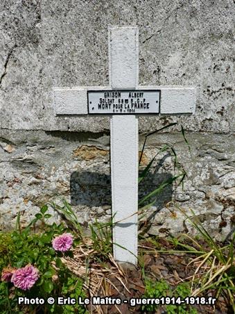Carré militaire de Saint-Soupplets - Tombe d'Albert Grison - 69ème BCP - Tué le 4 septembre 1914
