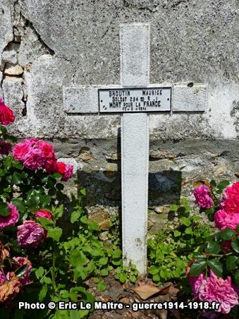 Carré militaire de Saint-Soupplets - Tombe de Maurice Broutin - 294ème RI - Tué le 10 septembre 1914