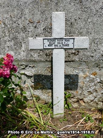 Carré militaire de Saint-Soupplets - Tombe de Victor Henri Richard - 294ème RI - Tué le 9 septembre 1914