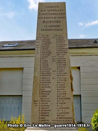 Vue la face Est du monument aux morts de Saint-Soupplets