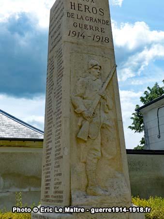 Vue la face Nord du monument aux morts de Saint-Soupplets
