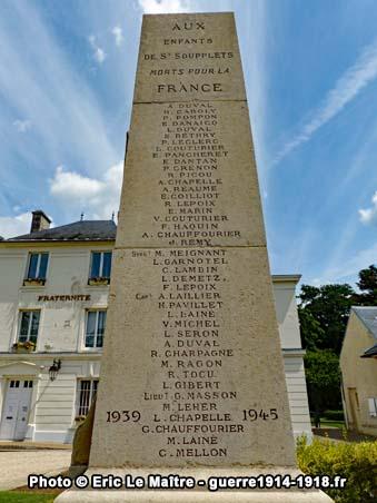 Vue la face Ouest du monument aux morts de Saint-Soupplets
