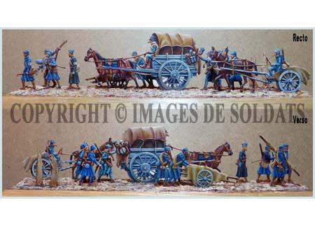 Groupe de soldats français d'un poste de secours en déplacement, 1917-1918 - Peinture : André Jouineau - 2019