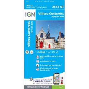 Carte IGN Top 25 - Villers-Cotterêts - Forêt de Retz - 2512 OT