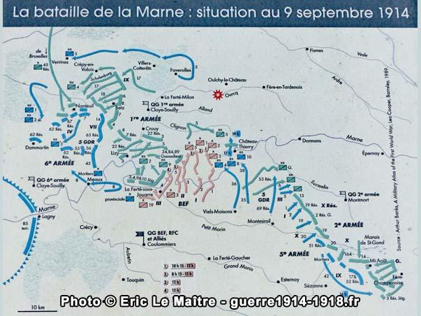 Carte de la bataille de la Marne - Position le 9 septembre 1914