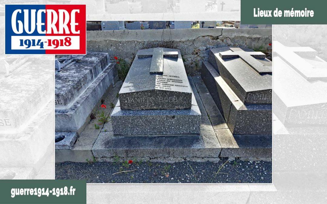 Épitaphe en mémoire d'André Bobba sur le caveau familial dans le cimetière communal de Villemoisson-sur-Orge (91-Essonne)