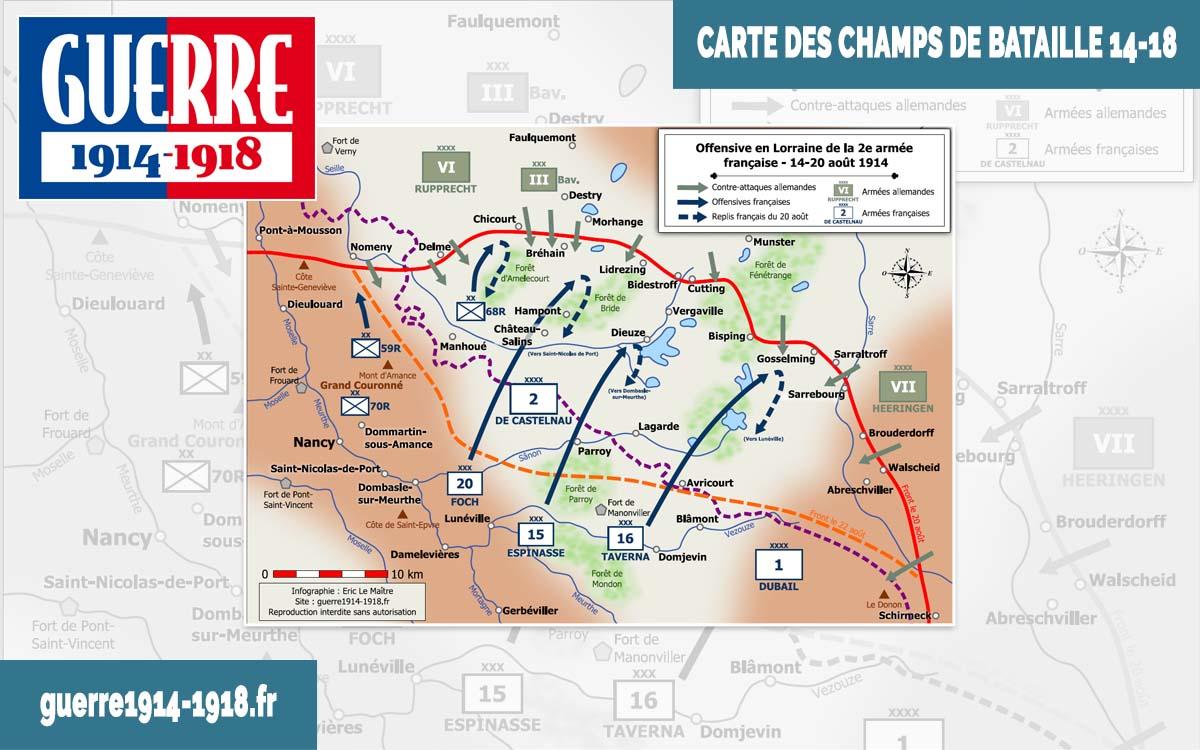 Carte des batailles 14-18 - Offensive en Lorraine de la 2e armée française - 14-20 août 1914