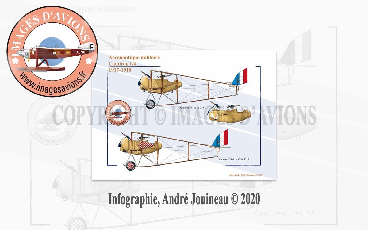 Planche de profil d'avion Caudron G4, Aéronautique militaire, France, 1917-1918
