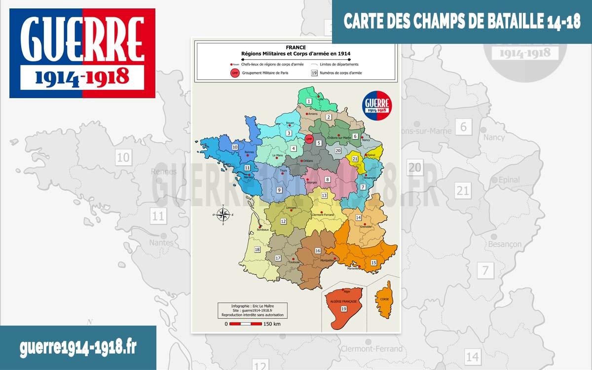 Carte des batailles 14-18 - France : Régions militaires et corps d'armée en 1914
