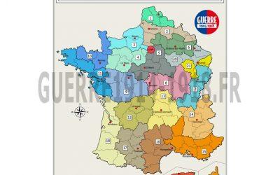 Carte des batailles 14-18, n°4 : FRANCE – Régions Militaires et Corps d'armée en 1914