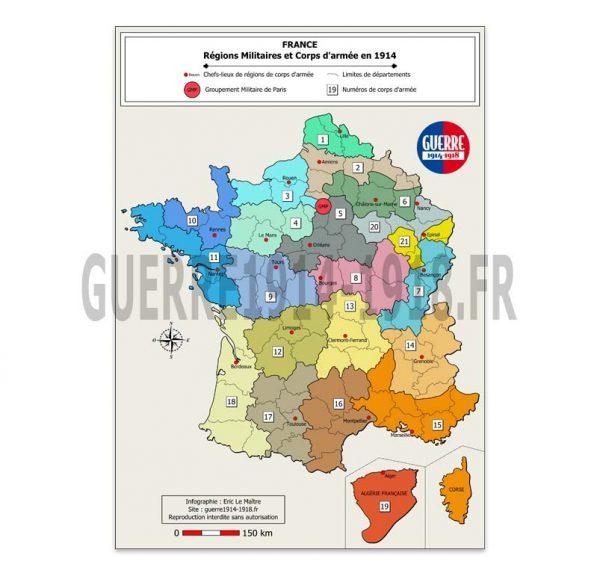 France, les régions militaires et les corps d'armée en 1914