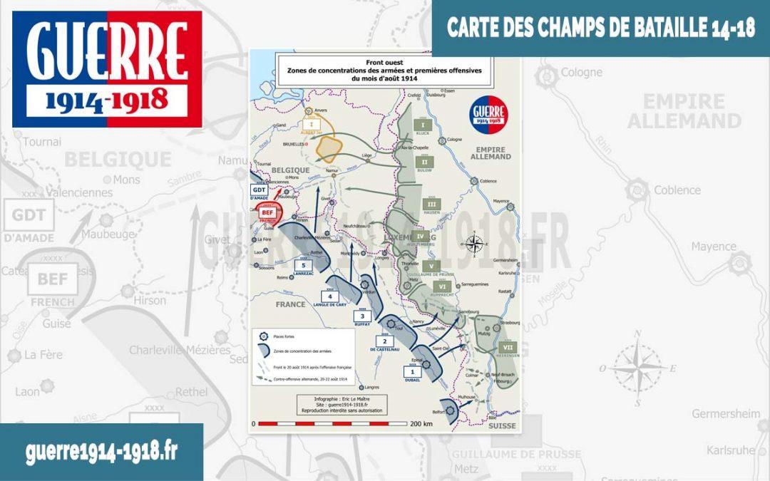 Carte des batailles 14-18, n°5 : Front ouest – Zones de concentration des armées et premières offensives du mois d'août 1914